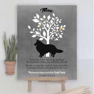 Sheltie Dog, Family Tree, Dog Memorial, Poem, Personalized, Plaque, Sympathy Gift, Loss of Pet, Condolence, Pet Loss Gift, Art Print #1002