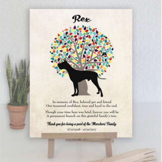 Great Dane Dog, Family Tree, Dog Memorial, Poem, Personalized, Plaque, Sympathy Gift, Loss of Pet, Condolence, Pet Loss Gift, Art Print 1004