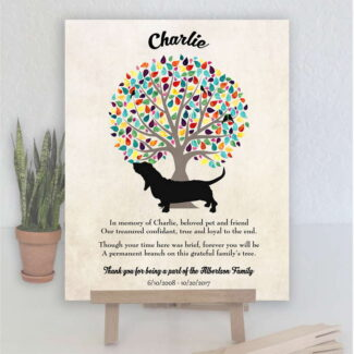 Basset Hound, Family Tree, Dog Memorial, Poem, Personalized, Plaque, Sympathy Gift, Loss of Pet, Condolence, Pet Loss Gift, Art Print #1016