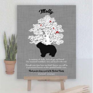 Bearded Collie, Family Tree, Dog Memorial, Poem, Personalized, Plaque, Sympathy Gift, Loss of Pet, Condolence, Pet Loss Gift, Art Print 1018