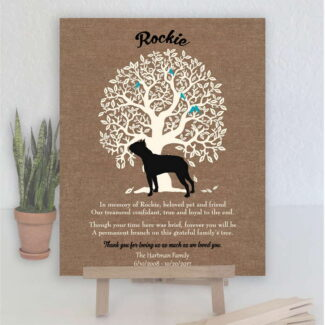 Boston Terrier, Family Tree, Dog Memorial, Poem, Personalized, Plaque, Sympathy Gift, Loss of Pet, Condolence, Pet Loss Gift, Art Print 1023