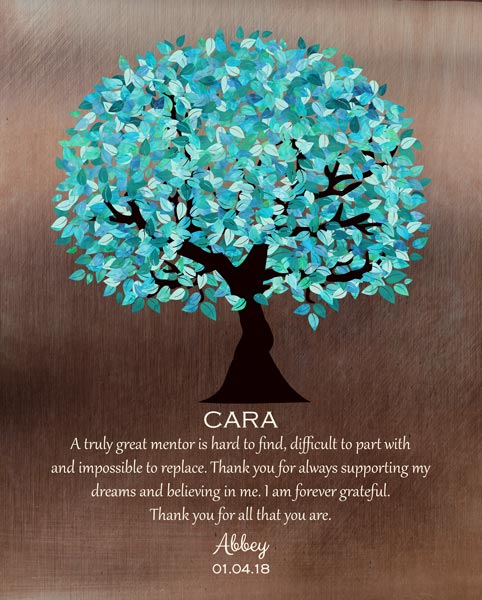 Mentor Boss Preceptor Teacher Faux Bronze Turquoise Tree Of Life Gift Personalized For Abbey