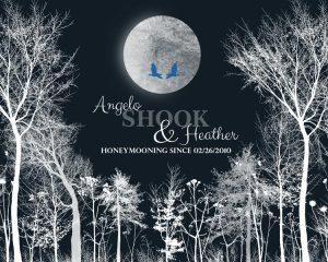 Gift for Wife, Anniversary Gift of Tin Aluminum, Honeymoon Winter Trees, Gift for Couple – Personalized for Angelo S.