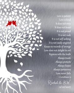 Ten Year Conrithians Wedding Tree Roots Love Birds Love Is Patient Gift Personalized For Brook