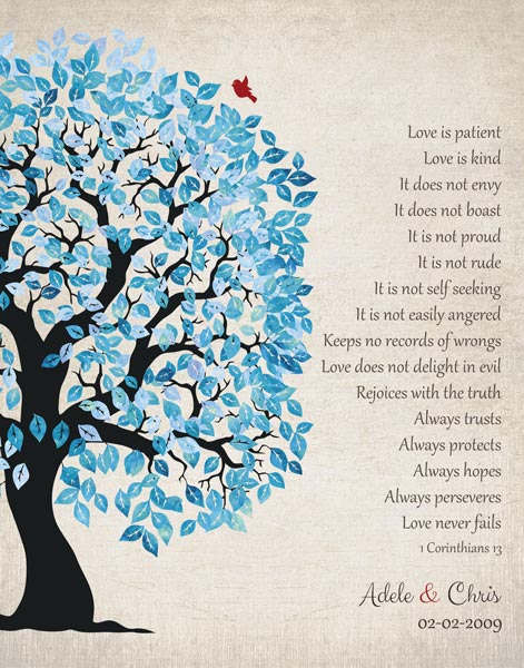 Gift for Wife, 1 Corinthians, Blue Tree with Vintage Background, 10 Year Anniversary Gift – Personalized for Christopher H.