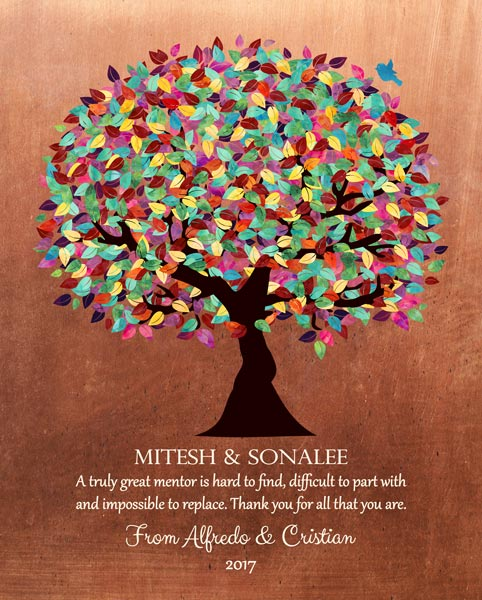 Thank You Mentor Faux Copper Background Gift Personalized For Cristian