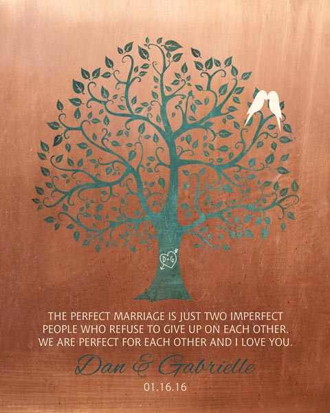 Mounted Canvas Perfect Marriage Imperfect People Faux Copper  Turquoise Wedding Art Gift Personalized For Daniel