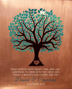 Faux Copper Turquoise Family Tree Of Life With Carved Initials Love Birds Gift Personalized For David