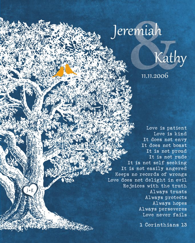 Anniversary Plaque 1 Corinthians 13 Carved Initials Love Is Patient Oak Tree Personalized For Jeremiah