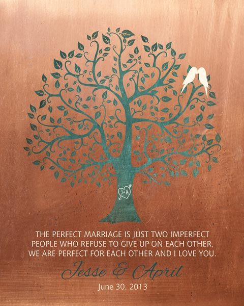 Perfect Marriage Imperfect People Faux Copper Background Gift Personalized For Jesse
