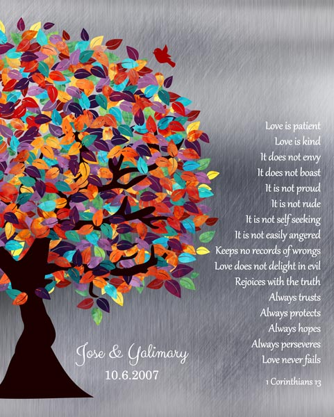 Anniversary Corinthians 13:13 Spring Wedding Tree Shiny Background Lovebirds Gift Personalized For Jose