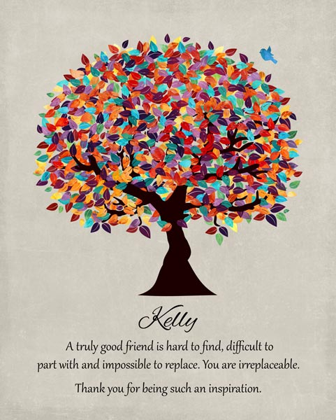Friend Mentor Multi Colorful Tree Moving Going Away Retirement Gift Personalized For Karen