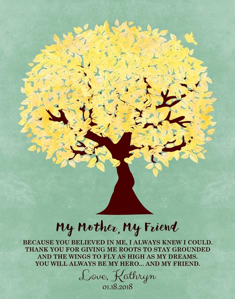 My Mother My Friend Believed In Me Family Tree Mother's Day Thank You Gift Personalized For Kathryn