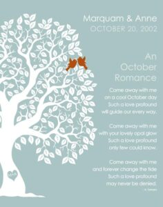 October Romance Love Poem Engagement Anniversary Opal Personalized For Marquam