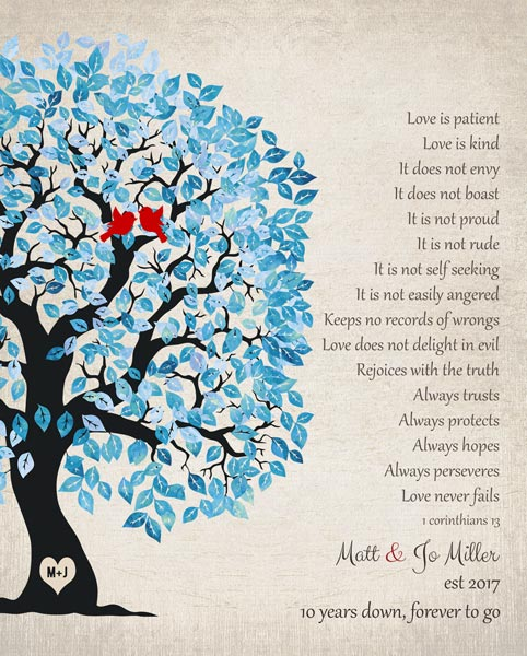 Blue White Wedding Tree Love Is Patient 1 Corinthians 13 Personalized For Matthew