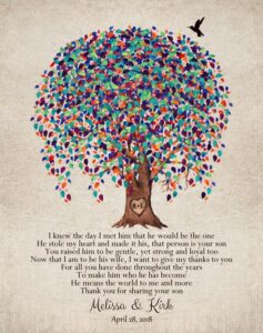 Mother Of Groom From Bride Watercolor Tree Of Life Thank You Gift Personalized For Melissa
