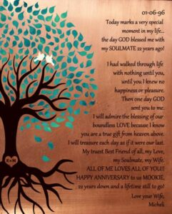 Love Is Patient Seven Year Anniversary Faux Copper, Turquoise, Corinthians Gift Personalized For Micheli