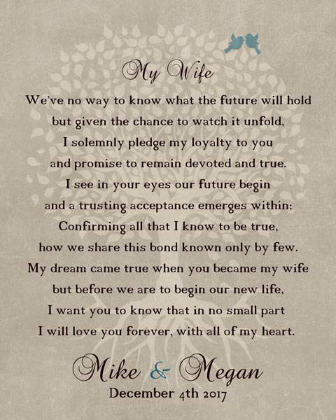 Thank You For Wife At Wedding Love Poem Gift Personalized For Mike