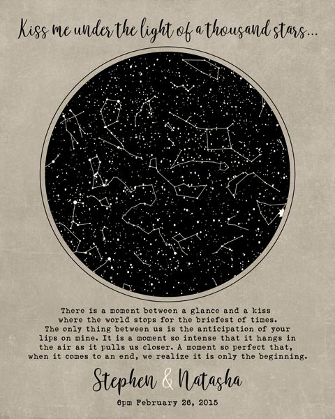 Gift for Couple, 10 Year Anniversary, Custom Star Map, Celestial Marriage, Night Sky Print – Personalized for Natasha R.
