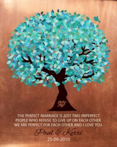 Wedding Keepsake Faux Copper Turquoise Tree Of Life Gift Personalized For Paul