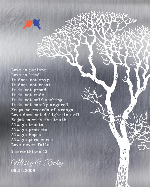 Corinthians Love Is Patient Shiny Background Bare Wedding Winter Tree Gift Personalized For Rocky
