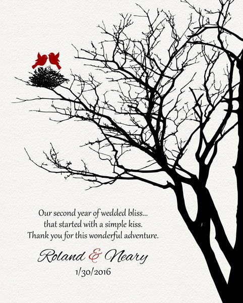 Second Year Anniversary Love Birds In Family Wedding Tree Gift Personalized For Roland
