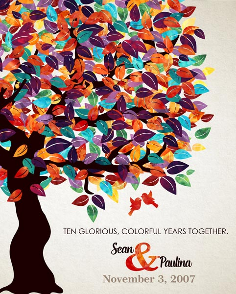 Husband Couple Wife Anniversary Colorful Fruit Tree Gift Personalized For Sean