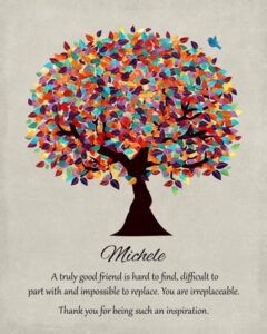 Friend Mentor Multi Colorful Tree Moving We Will Miss You Gift Personalized For Sharon