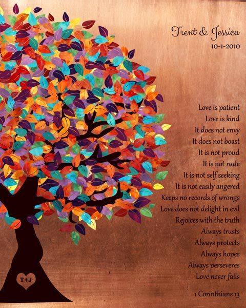 Colorful Spring Tree Corinthians Love Is Patient Faux Copper Background Seven Year Anniversary Gift Personalized For Trent