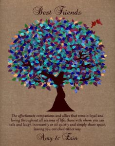 Best Friends Sister BFFs Tree Of Life Part Of Me Faux Burlap Peacock Color Gift – Personalized For Amy
