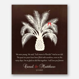 Personalized Anniversary Gift, A Gift For Wife Or Husband, A Palm Tree & Two Parrots With Personalized Name and Heartfelt Message, 1003