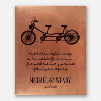 Best Gift For Couple, Handmade Anniversary Gift, Personalized Art Piece, A Bicycle, Two Seats & A Warm Message Will Melt Her Heart, 1007