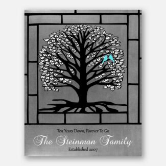 10 Year Anniversary Personalized Gift, Black Tree & White Leaves, Gift For Couple, Handmade Artwork For 10th Anniversary Celebration, 1011