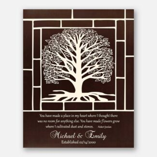 Wedding Anniversary Gift, White Tree With Roots & Leaves, Gift For Couple, Handmade Artwork For Best Anniversary Celebration, 1016