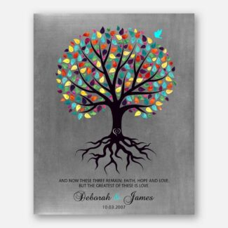 Anniversary Gift, A Purple Tree With Multicolored Leaves, Personalized Anniversary Gift, Best Gift For Your Love With A Heart On Trunk, 1030