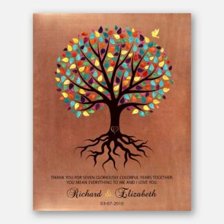7 Year Anniversary Gift, Personalized 7 Year Gift, A Tree With Roots, A Handcrafted Gift Perfect For Your 7th Anniversary For Couple, 1031
