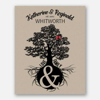 Anniversary Gift, Personalized Family Tree, Oak Tree Of Life With 2 Birds, Handcrafted Gift With Family Name & Date Printed Over It, 1035