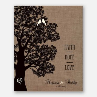 Personalized Anniversary Gift, This Beautiful Gift Depicts Large Oak Tree & Two Lovebirds Symbolizing Faith, Hope & Love, 1038