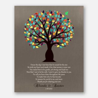 Personalized Thank You Gift, Gift For Mother Of Groom, Gift For Parents Of Groom, Gift Depicting A Tree, A Bird & Wedding Poem, 1039