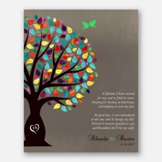 Personalized Thank You Gift, Gift For Mother Of Bride, Gift For Parents Of Bride, Gift Depicting A Tree, 2 Birds & Heartfelt Poem, 1040