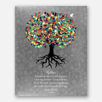 Thank You Gift For Mom, Beautiful Personalized Gift For Mom From Daughter With A Heartfelt Poem, Gift Depicting Rooted Tree & A Bird, 1042
