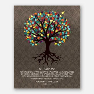 Personalized Gift For Mentor Or Your True Hero, Handmade Thank You Gift For Doctor Depicting Rooted Tree With Bird & Heartfelt Message, 1043