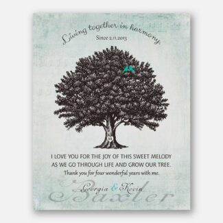 4 Year Anniversary Gift, Personalized 4th Year Wedding Gift, A Thank You Gift, A Family Tree & Red Birds Living Together In Harmony, 1045