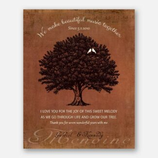 7 Year Anniversary Gift, Personalized Thank You Gift, Gift Depicting A Family Tree & Sweet Poem To Celebrate 7th Wedding Anniversary, 1046