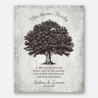 Wedding Anniversary Gift, Personalized Anniversary Gift, Family Tree Of Life With Heartfelt Poem & Heart At The Trunk With Initials, 1047