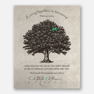 3 Year Anniversary Gift, Personalized 3rd Year Wedding Gift With Names & Wedding Date, A Family Tree & Green Birds Living Together, 1049