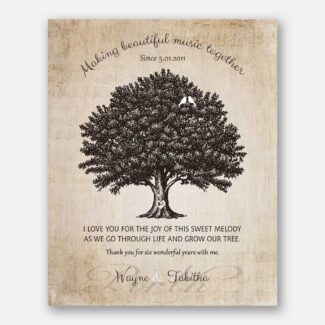 6 Year Anniversary Gift, Personalized Thank You Gift, Gift Depicting A Family Tree, 2 Birds & A Heart On The Trunk With Initials, 1051