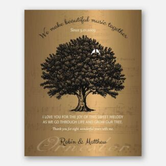 8 Year Anniversary Gift, Personalized Thank You Gift, Gift Depicting A Family Tree & Sweet Poem To Celebrate 8th Wedding Anniversary, 1053