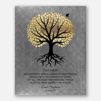 A Thank You Gift For Dad, Personalized Gift For Father From Son With A Heartfelt Poem, Depicting Rooted Tree, Golden Leaves & A Bird, 1058