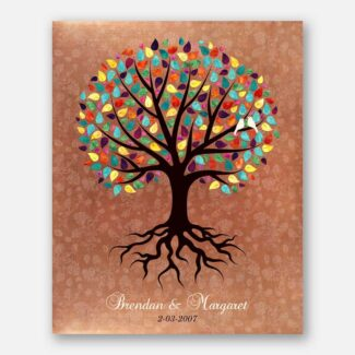 Best Anniversary Gift, Complete Handcrafted Personalized Gift For Your Beloved, A Rooted Tree With Multicolor Leaves & Two Love Birds, 1059